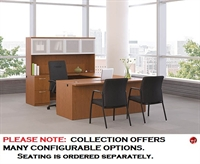 "Picture of 72"" Contemporary U Shape Office Desk Workstation with Glass Door Overhead"