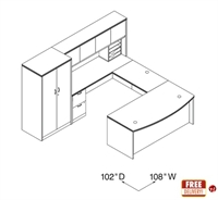 """Picture of 72"""" Bowfont U Shape Office Desk Workstation with Closed Overhead and Double Door Storage"""