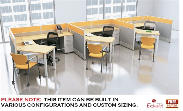 The Office Leader 3 Person L Shape Cubicle Desk Electrified