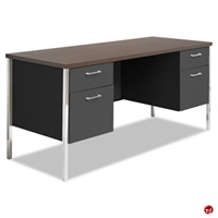 "Picture of 24"" x 60"" Double Pedestal Steel Office Desk Workstation"