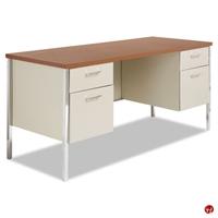 "Picture of 24"" x 60"" Double Pedestal Steel School Desk Workstation"