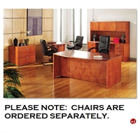 """Picture of 72"""" Bowfront Desk with Kneespace Credenza Overhead, 2 Drawer Lateral and Round Conference Table"""