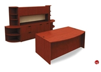 """Picture of 72"""" Bowfront Desk with Storage Credenza Closed Overhead and Corner Bookcases"""