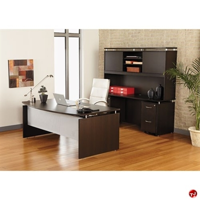 """Picture of 72"""" Contemporary Bowfront Desk with Kneespace Credenza and Closed Overhead Storage"""