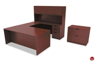 """Picture of 72"""" U Shape Office Desk Workstation with Closed Overhead and 2 Drawer Lateral"""