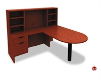 """Picture of 72"""" L Shape D Top Office Desk Workstation with Overhead Storage"""