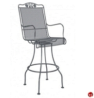 Picture of GRID Outdoor Wrought Iron Swivel Dining Barstool Chair