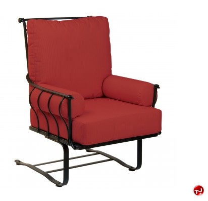 outdoor wrought iron sled base lounge dining chair with padded cushion