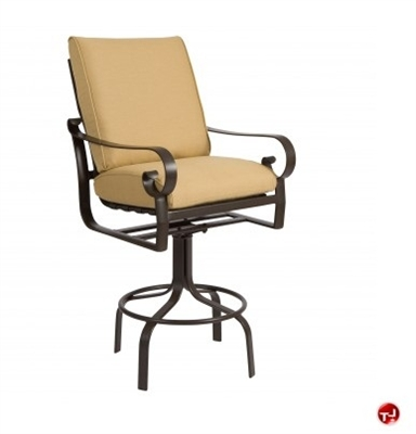 Picture of GRID Outdoor Aluminum Padded Cushion Swivel Barstool Chair