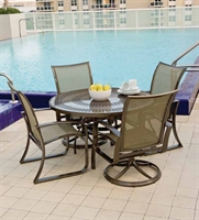 Picture of GRID Outdoor Aluminum Mesh Swivel Rocker Chairs and Dining Arm Chairs, Set of 4