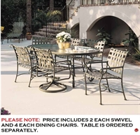 Picture of GRID Outdoor Aluminum Dining Stacking Chairs with Swivel Rocker Chairrs, Pack of 6