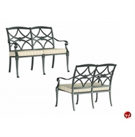 Picture of GRID Outdoor Aluminum 2 Seat Loveseat Stacking Bench Chair with Seat Cushion, Pack of 2
