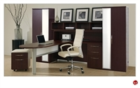 Picture of DMI Causeway Contemporary Laminate L Shape Office Desk Workstation with Overhead and Wardrobe Storage