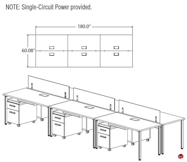 The Office Leader STROY 6 Person Bench Seating