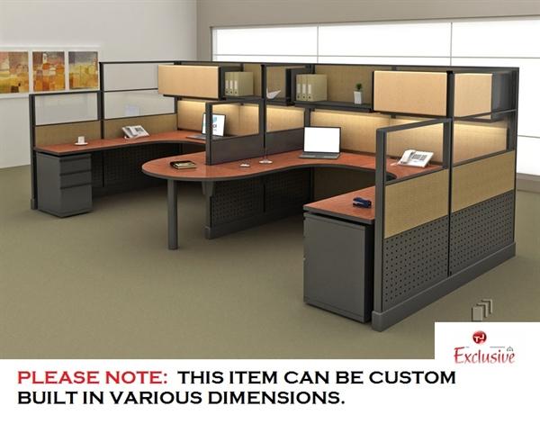 Peblo Cer Of 2 Person U Shape Office Desk Cubicle Workstation
