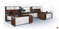 Picture of Marino 2 Person U Shape Office Desk Workstation with Closed Overhead Storage