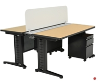 Picture of Marino 2 Person Training Table with Privacy Panel and Filing Cabinet