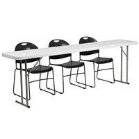 "Picture of Brato 18"" x 96"" Resin Folding Table with 3 Poly Stack Chairs"