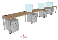 "Picture of PEBLO 4 Person 24"" x 60"" Bench Seating Office Desk Workstation"