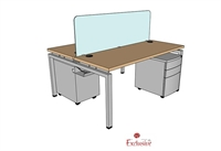 "Picture of PEBLO 2 Person 24"" x 60"" Bench Seating Office Desk Workstation"