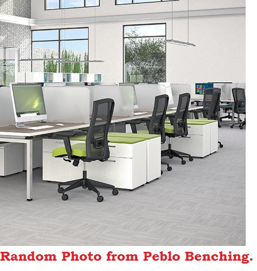 Peblo 3 Person 30 X 60 Bench Seating Office Desk Workstation