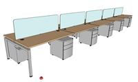 "Picture of PEBLO 10 Person 24"" x 60"" Teaming Bench Seating Office Desk Workstation"