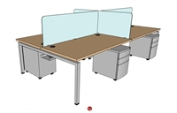 "Picture of PEBLO Cluster of 4 Person 30"" x 60"" Teaming Bench Seating Desk Workstation"