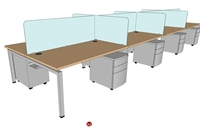 "Picture of PEBLO Cluster of 8 Person Bench Seating Teaming Desk Workstation, 30"" x 60"""