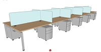 "Picture of PEBLO Cluster of 10 Person Bench Seating Teaming Desk Workstation, 30"" x 60"""