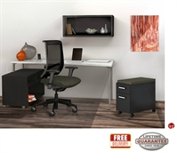 """Picture of STROY 24"""" x 60"""" Contemporary Office Desk with Wall Mount, Open Storage and Mobile Cabinet"""