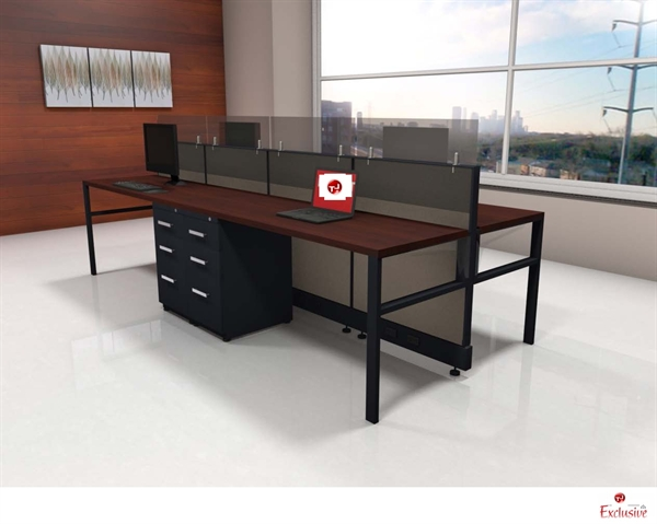 The Office Leader Peblo 4 Person Shared Cubicle Desk