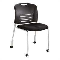 Picture of Armless Poly Mobile Stack Chair with Upholstered Seat, Pack of 2