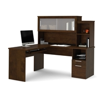 Picture of Contemporary L Shape Office Desk Workstation with Overhead Storage