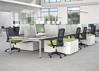 Picture of Cluster of 8 Person Bench Seating Teaming WorkDesk with Lateral File Credenza and Power Management