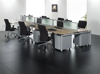 Picture of Cluster of 6 Person Bench Seating Teaming Workstation with Filing Cabinets and Power Management