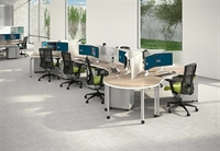 Picture of Cluster of 7 Person Bench Seating Teaming Workstation with Filing and Power Management
