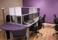 Picture of Cluster of 4 Person Bench Seating Telemarketing Training Workstation with Storage and Power Management