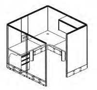"""Picture of 72"""" x 72"""" L Shape Private Cubicle Office Desk Workstation with Filing and Overhead Storage"""