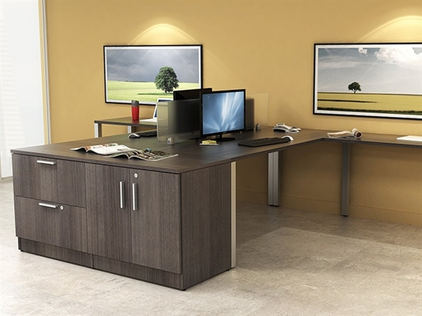 The office leader peblo 2 person shared l shape office desk workstation with lateral filing and - L shaped desk for two people ...