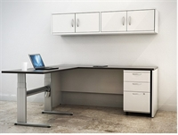 Picture of PEBLO L Shape Height Adjustable Table with Filing Cabinet and Wall Mount Storage