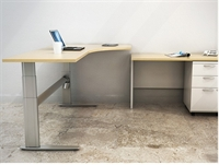 Picture of PEBLO Height Adjustable Office Desk Workstation with Filing Cabinet