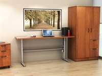 Picture of PEBLO Height Adjustable Training Table with Filing Cabinet and Wardrobe Cabinet