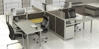Picture of PEBLO Cluster of 4 Person, Contemporary L Shape Cubicle Office Desk Workstation