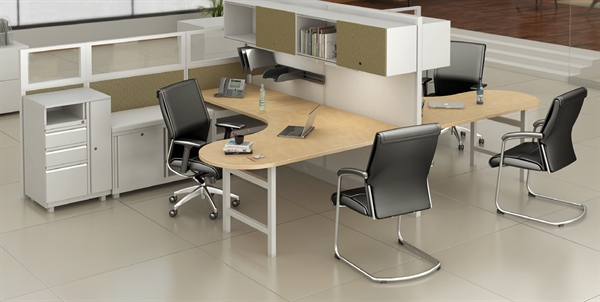 Peblo Cer Of 2 Person Contemporary U Shape Cubicle Office Desk Workstation With Filing And Wardrobe
