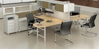 Picture of PEBLO Cluster of 2 Person, Contemporary U Shape Cubicle Office Desk Workstation with Filing and Wardrobe