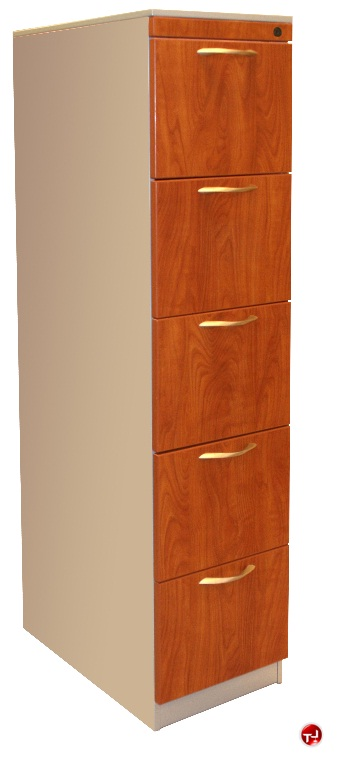 Picture Of Vertical 5 Drawer Steel Tower Storage File Cabinet Laminate Wood Front