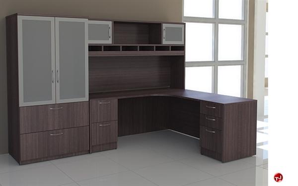 Peblo 72 L Shape Office Desk Workstation Overhead Storage Cabinet