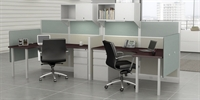 Picture of PEBLO Cluster of 2 Person Contemporary Cubicle Curve Desk Workstation with Filing and Storage